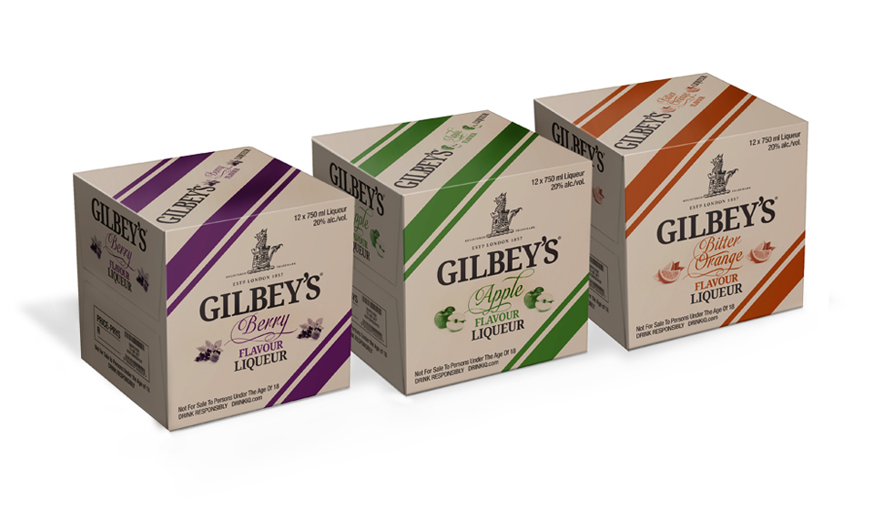 Gilbeys gin and Flavours shippers packaging design