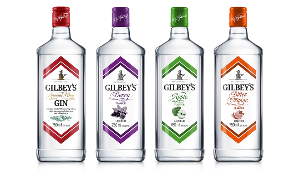 Gilbey's gin and Flavoursa packaging design